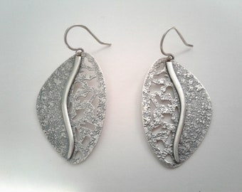 Pair of Silver Abstract Leaf Earrings