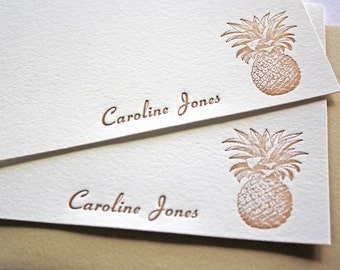 Personalized Letterpress Stationery Pineapple Aloha
