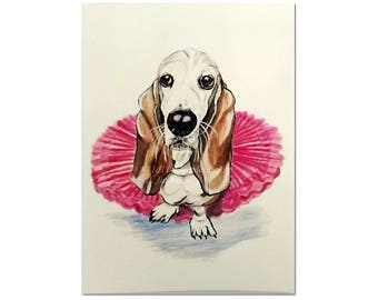 Basset Hound Note Card, Whimsical Dog in Tutu Printed Blank Greeting Card, Watercolor Pet Art Card