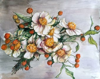 "Original watercolor Painting, White Rose Flowers, 12x15"", 1802092"