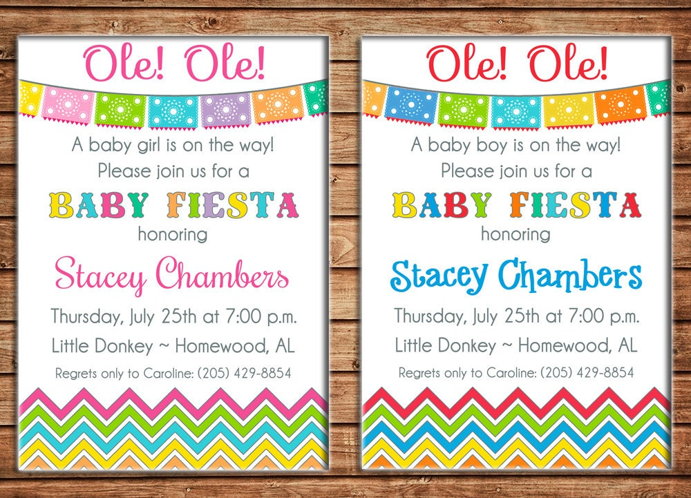Boy or Girl Invitation Mexican Fiesta Baby Shower Birthday