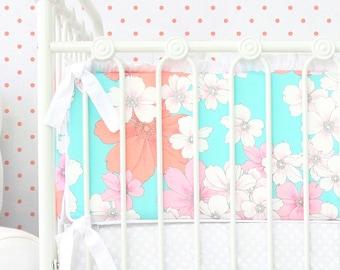 15% OFF SALE - Lola's Aqua Floral Crib Bumpers | Aqua and Coral Nursery