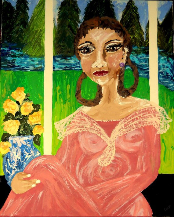 "Acrylic Painting 20 x 16"", Miss Hemings of Monticello, Ethnic Folk Art, portrait of black woman by African American Artist Stacey Torres"