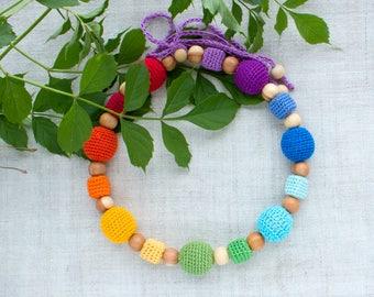 Chakra Rainbow Nursing Necklace, Breastfeeding Babywearing Accessory, Wooden Crochet Teething, Sensory, Baby Shower Gift, new mom, favor bag