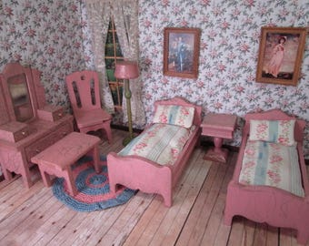 "Vintage Dollhouse Furniture - Complete Strombecker Bedroom Set from 1931 - 1"" Scale"