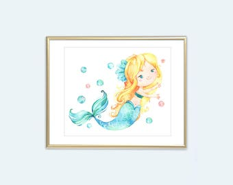 Mermaid Print Blonde Hair Mermaid Printable Wall Art Girls Aqua Yellow Watercolor Room Decor 8x10 Kids Bathroom Art Instant Digital Download