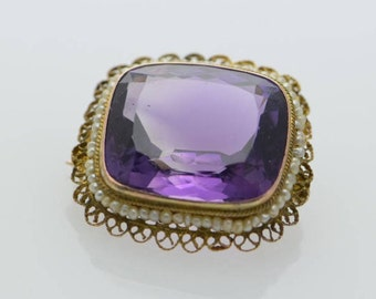 14K Yellow Gold Filigree Pin with Amethyst and Seed Pearls, Circa 1900