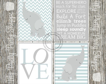 4 Piece 8x10 Printable Nursery Baby Boy Bedroom / Nursery / Elephant / Love / Subway Art / Chevron / Baby Blue / Wall Art *INSTANT DOWNLOAD*