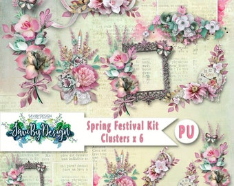 Digital Scrapbooking Clusters set of 6 - SPRING FESTIVAL premade embellishment png clusters to make immediate scrap page