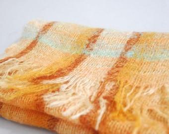 Vintage plaid cashmere scarf | vintage wool scarf | vintage cashmere scarf