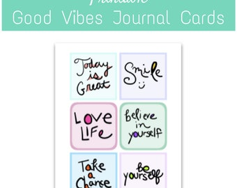 PRINTABLE: Good Vibes Journal Cards - Instant download art journaling cards for journals, notebooks, bullet journals, moleskine, diary