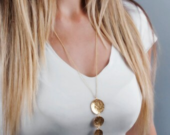Long Gold Necklace, Layering Necklace, Gold Coins Necklace, Layered Necklace, Circles Necklace, Boho Necklace, Simple Necklace