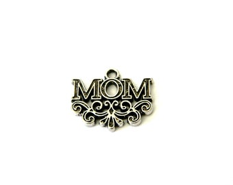 Mom Charms Set of 8 Silver Color 17x20mm