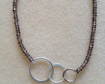 Smokey Quartz beaded necklace with sterling silver infinity circles