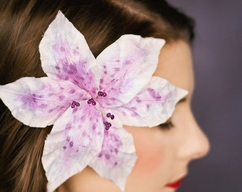 Bridal hair flower lily Veronica wedding hair adornment occasion headpiece mother of the bride 020109-02