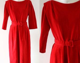 1960s red sheath dress // 1960s microsuede dress // vintage dress