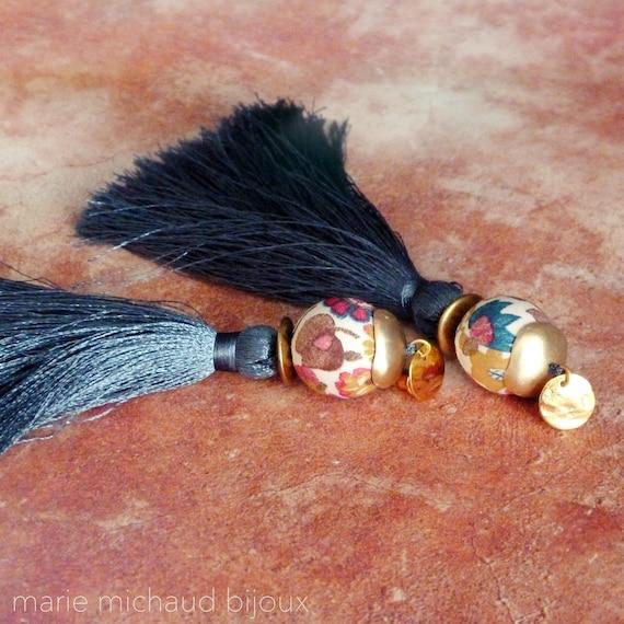 Tassel earrings,Teal earrings,Long earrings,Silk tassel earrings,Luxurious earrings,Statement earrings,2018 jewelry,Boho chic earrings