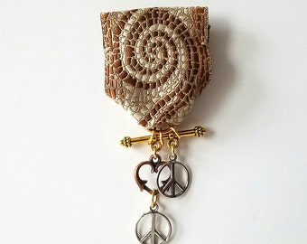 Moonflower Peace Medal (Earthy spiral ribbon. Peace sign, heart charm)