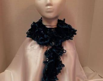 Beautiful Blue FRINGE SCARF,  yarn scarf,  scarves  Will add PIZAZZ to any wardrobe. scarves scarf neck warmer