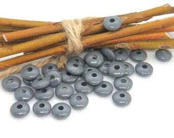 50 wooden beads pacifier 10 mm grey flat lentil shape