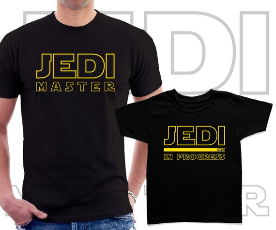 Star Wars Jedi Master and Padawan inspired Fathers and kids black t-shirts set. Father's day gift 2YtVS