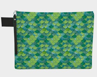 Green Mermaid Scales Zippered Carry-All Pouch