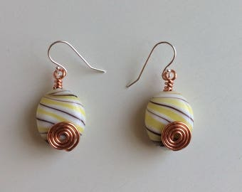 Oval Porcelain Earrings Striped with Black and Yellow with Decorative Copper Wire Spirals on Fronts / Gift for Her / Stocking Stuffer