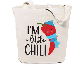 I'm A Little Chili Cotton Canvas Reusable Grocery Bag and Farmers Market Tote Bag, Food Pun, Shopping, Funny Women's Gift, Cute Shoulder Bag