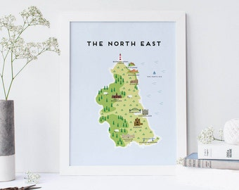Map of The North East - Illustrated map of the North East of England Print
