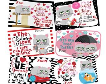 Valentines for kids,Grumpy Cat Valentines,Grumpy Valentines,Cat Valentines,Cat Valentine,Funny Valentines,Valentines Kids,Instant Download