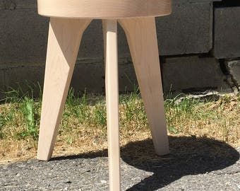 Modern Milkman, three legged stool, milking stool, end table, modern dining furniture, light wood stool