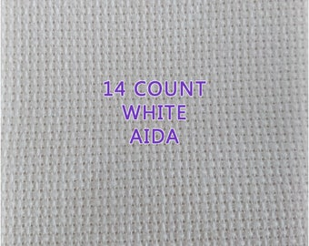 14 Count White Cotton Aida - sold in 25cm increments