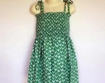 Girls Green Shirred Sun Dress - Sizes 1 to 4 avail - retro, bird, animal