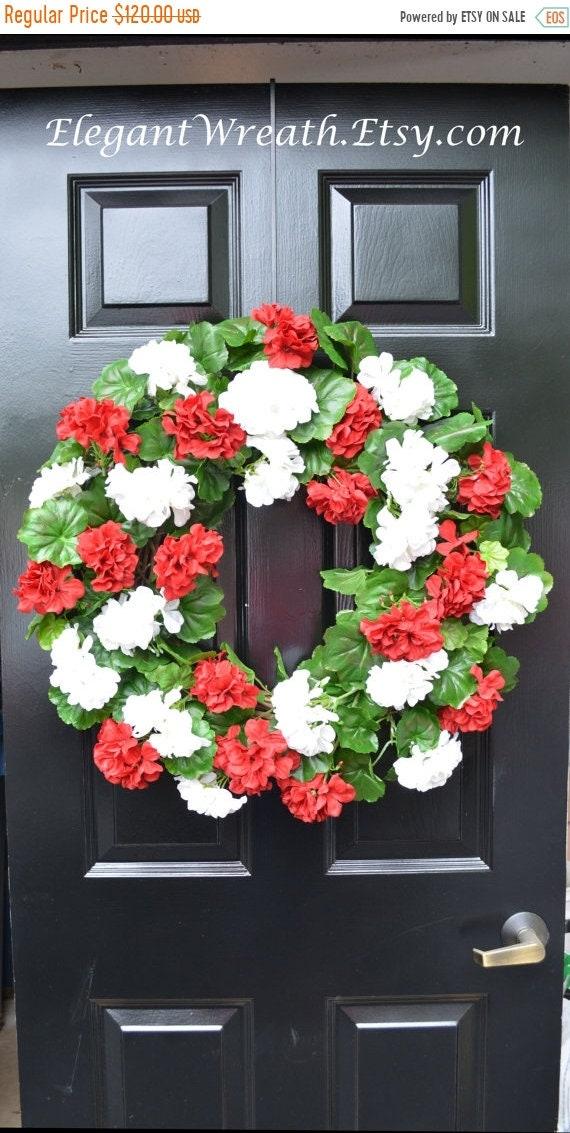 SUMMER WREATH SALE Summer Wreaths- Geranium Wreath- Outdoor Summer Wreaths- Door Wreath- Etsy Wreath