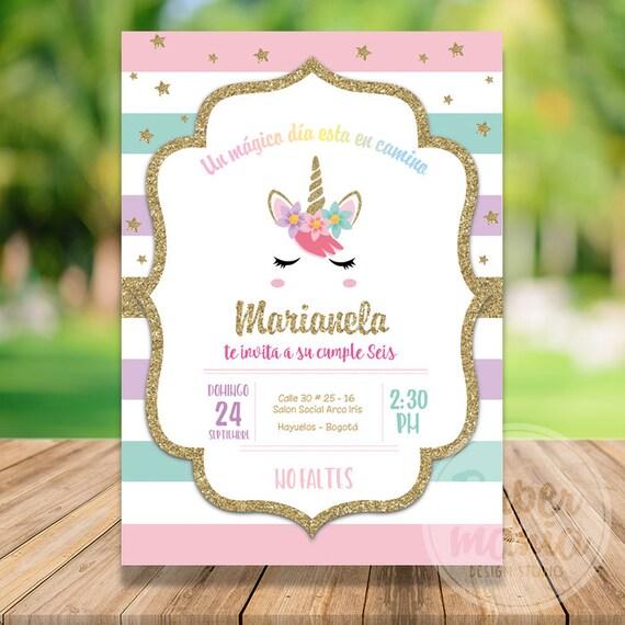 Invitación Unicornio Imprimible Invitación de cumpleaños de