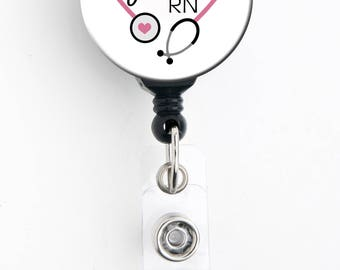 Retractable ID Badge Holder - Personalized Name - Cute Pink Heart Steth - Badge Reel, Steth Tag, Lanyard, Carabiner / Nurse Badge / RT Badge