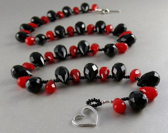 Red and Black Stone with Valentine Heart Toggle Necklace with Free USA Shipping