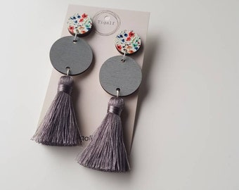 Wood and Tassel Earring