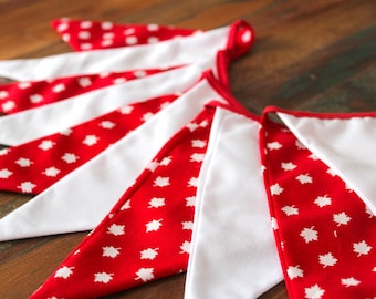 """Canada Fabric Bunting, 6'5"""" (2m),  Red and White Bunting, Canada Day Bunting, Canada Flags, Canada Wall Decor, Canada Banner, Canada"""