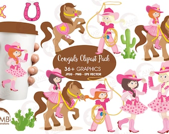Cowgirl Clipart, Cowboy clipart, rodeo clipart, horse clipart, Western Theme Clipart, commercial use, AMB-159