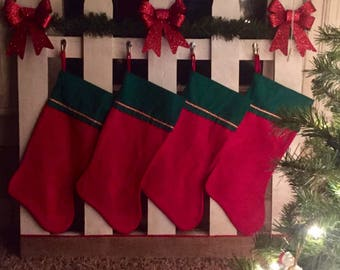 Handcrafted fencepost Christmas stocking hangers