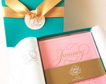 On Sale! 2018 Desk Calendar Refill -Gold and Pink with Elegant Hand Lettering