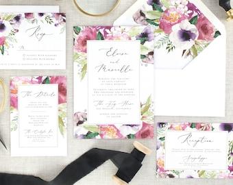 Printed Floral Wedding Invitation Set, Watercolor Wedding Invites, Pink Wedding Suite, Purple, Anemone, Country, Rustic, Romantic, Set of 10
