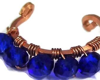 sapphire blue ear cuff, wire wrapped jewelry, wire weaved jewelry, gemstone wire weaved, beaded cuff, pierceless