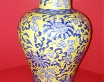 Large Yellow and Blue Asian vase