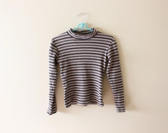 vintage shirt 90s striped ribbed mock turtleneck normcore grunge minimalist 1990s womens clothing size medium m