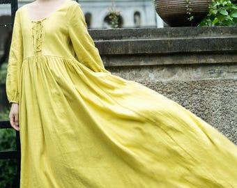 Long sleeve linen dress long pleated dress spring autumn dress full length dress party dress prom dress evening dress plus size clothing