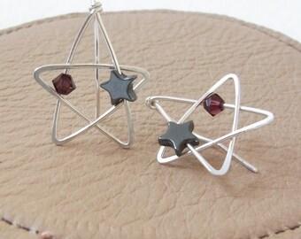 Star Earrings   Star Ear Climbers   Sterling Silver Star Earrings   Wire Wrap Earrings   Handmade Earrings   Celestial Earrings   PlumPurple