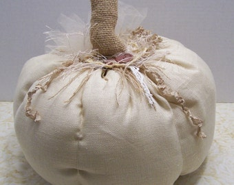 OOAK Handmade Shabby Country Chic, Farmhouse Linen Fabric Pumpkins For Fall,Thankgiving, and Wedding  Decorating