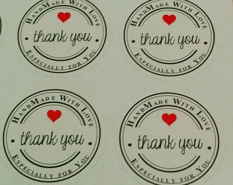 Handmade with Love ~ Especially for you ~ Thank You: Kraft Stickers, Labels, Envelope Seals